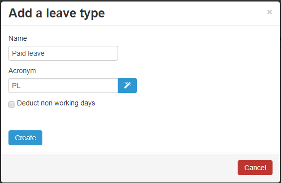 Create Leave type form