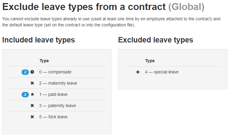 With this contract, employees cannot use excluded leave types