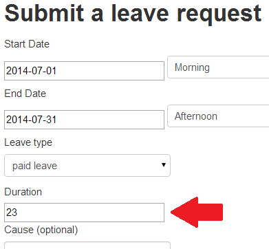 Leave request: calculation of the leave duration