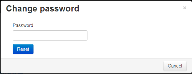 Pop-up allowing to change your password for Jorani