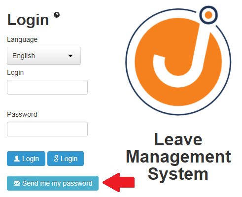 Reset your password from the login page